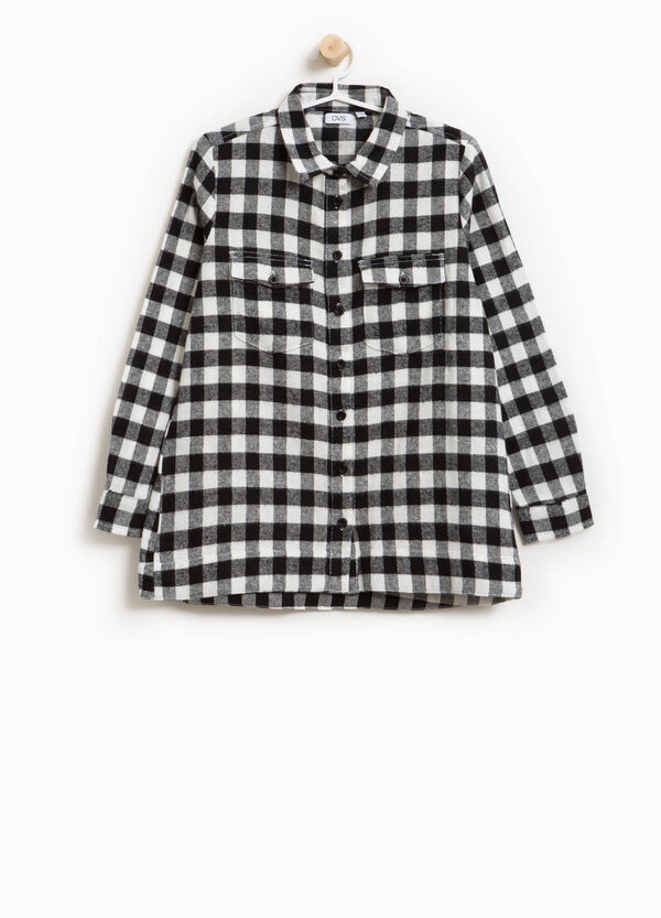 Long checked cotton shirt | OVS