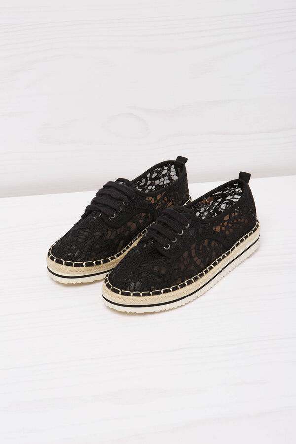 Lace-up shoes in lace   OVS