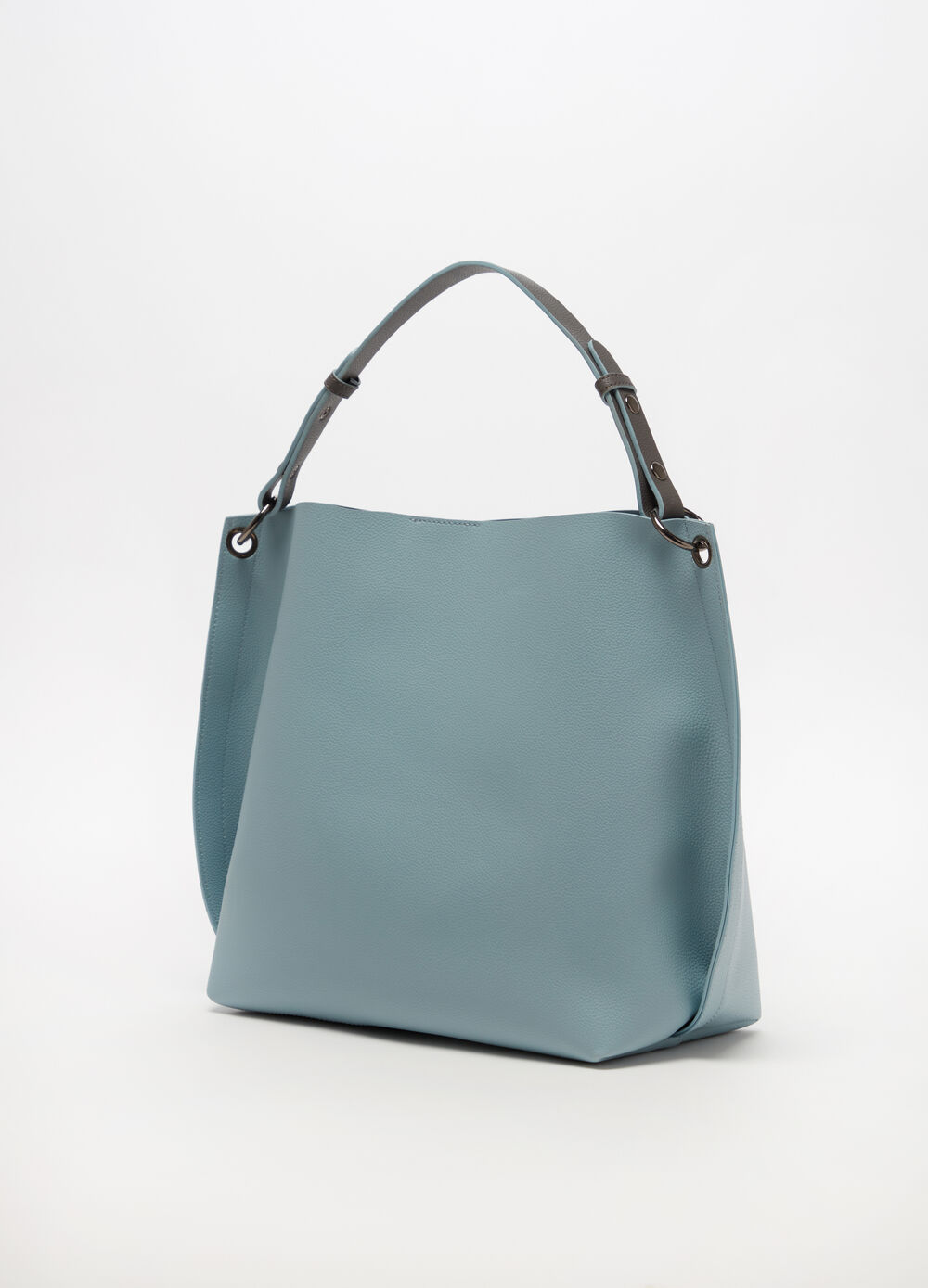 Two-tone hobo bag with internal shoulder strap