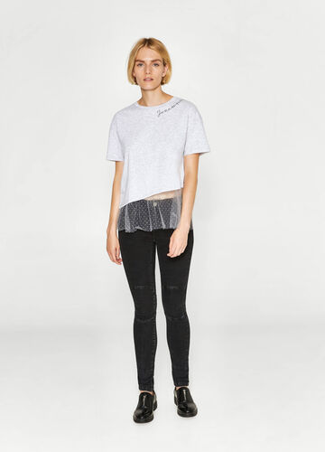 Printed T-shirt in cotton with tulle