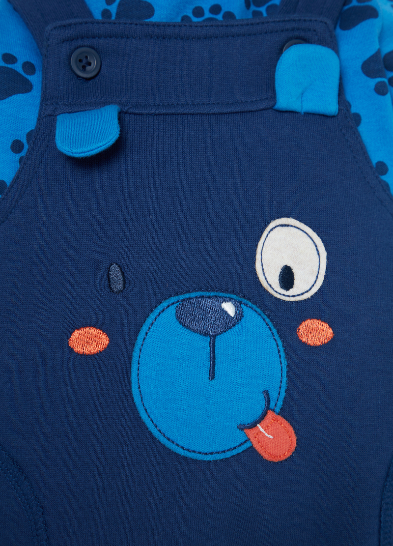 T-shirt and dungarees set with puppy patch image number null