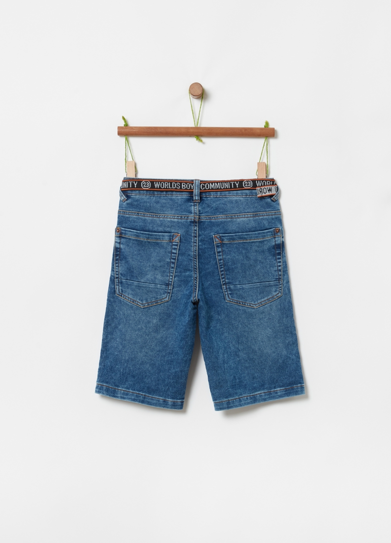 Stretch denim Bermuda shorts with belt image number null