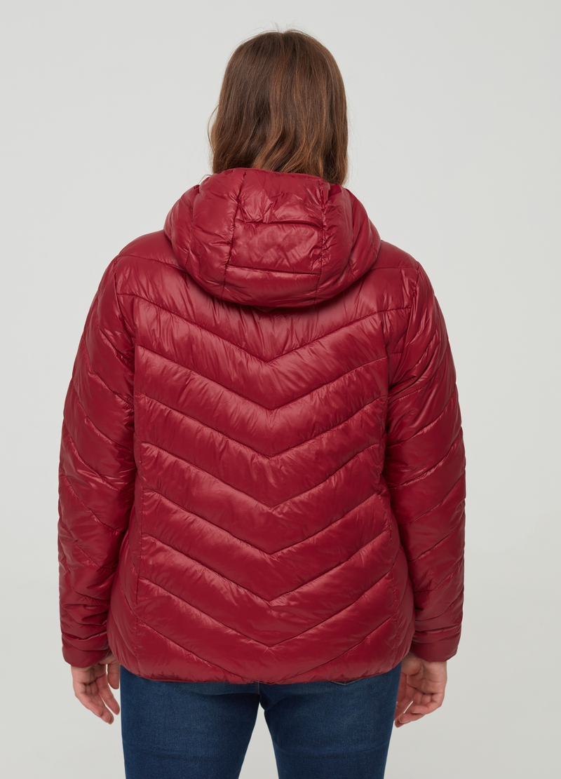 Curvy ultralight down jacket with hood image number null