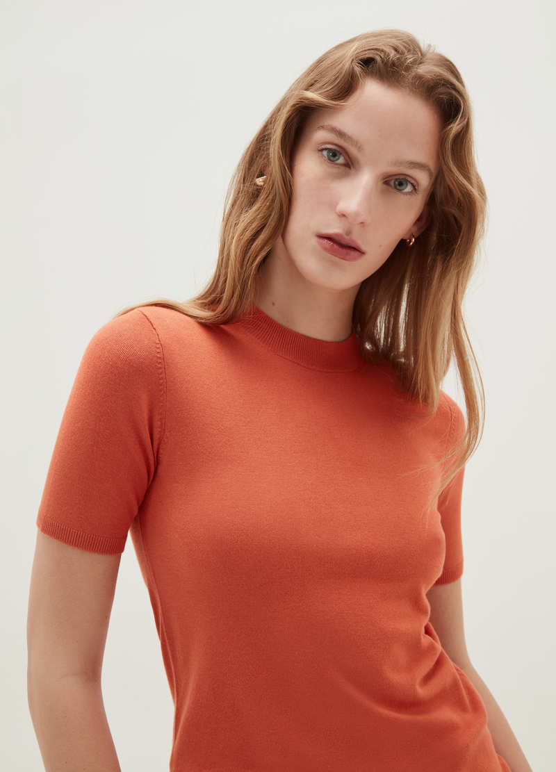 Short-sleeved knitted pullover image number null