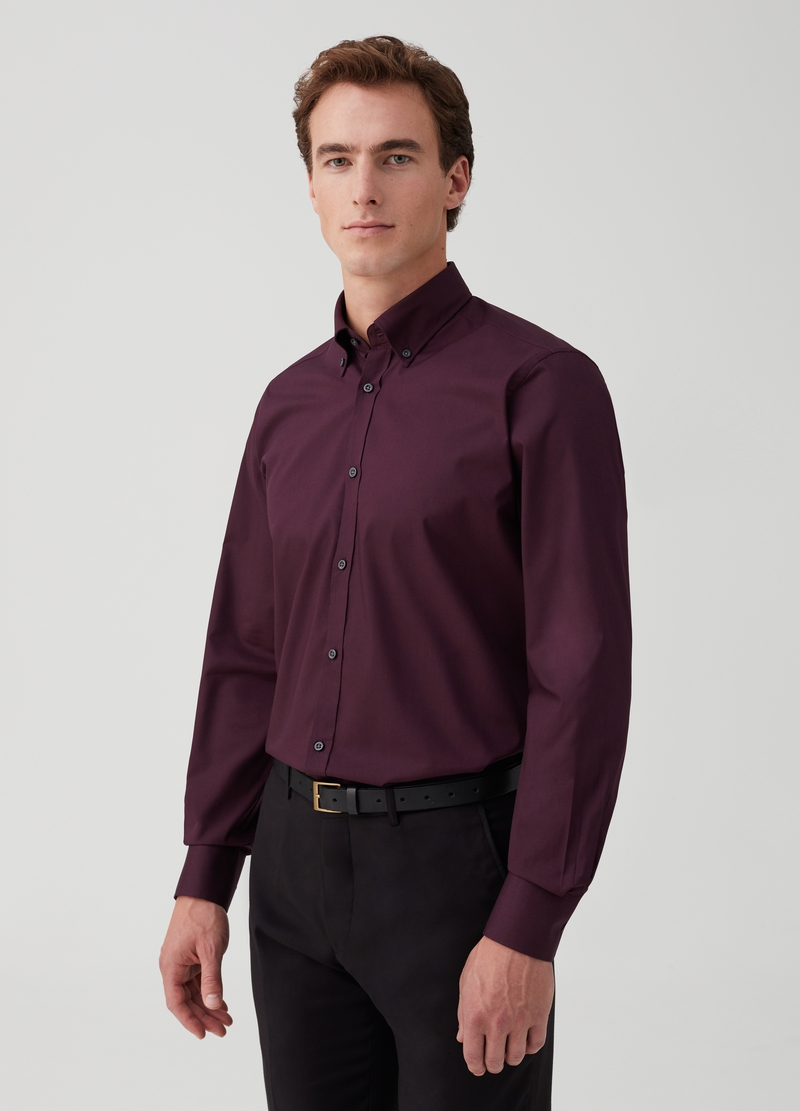 Slim-fit easy-iron shirt with button-down collar image number null