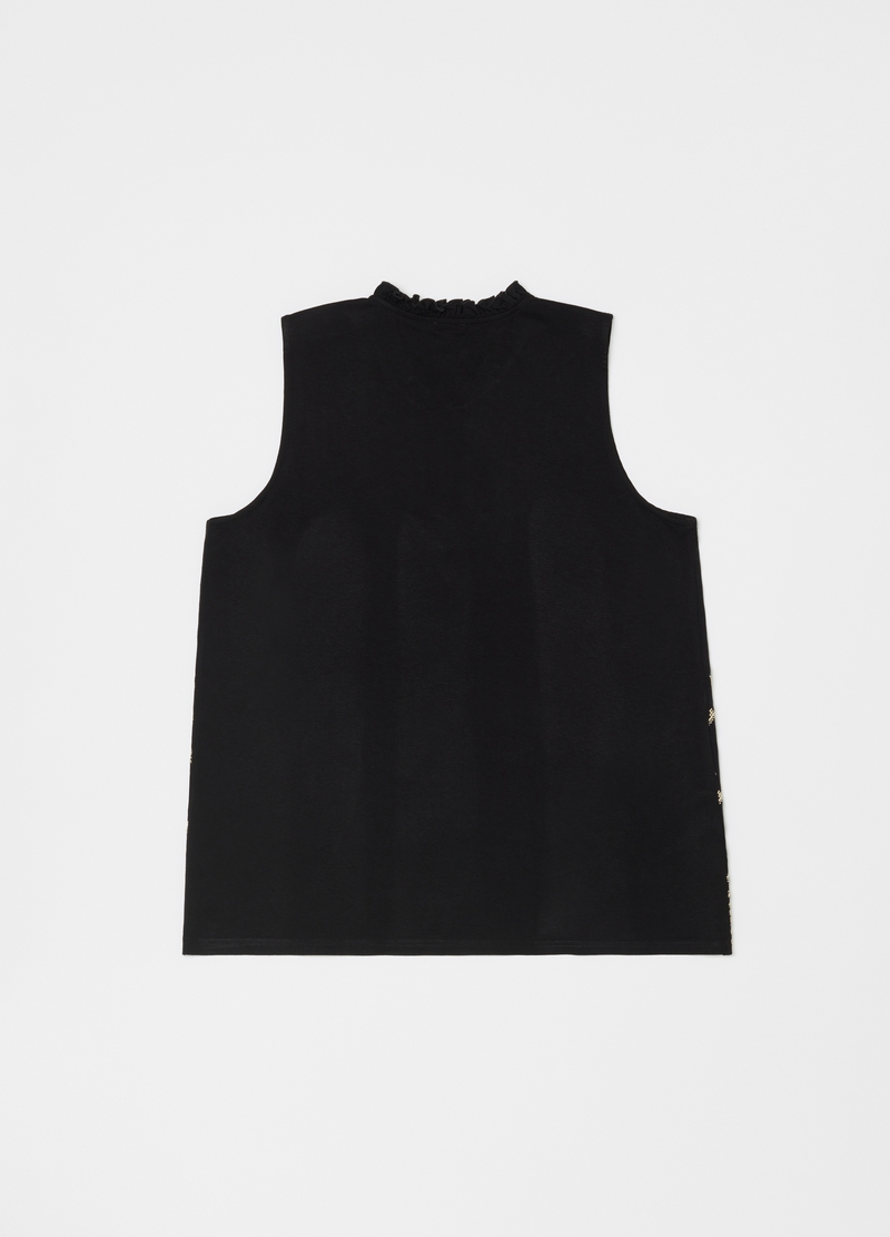 Tank top pura viscosa con coulisse image number null