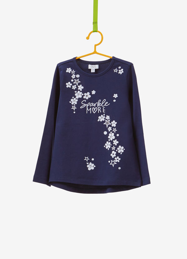 Cotton T-shirt with glitter floral print