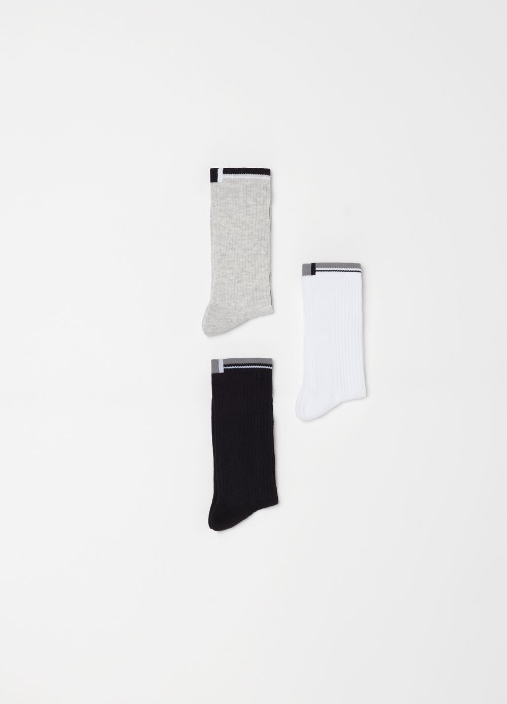 Three-pair pack tennis socks in jacquard