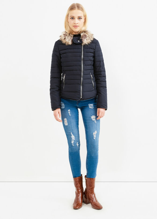 Solid colour down jacket with fur trim