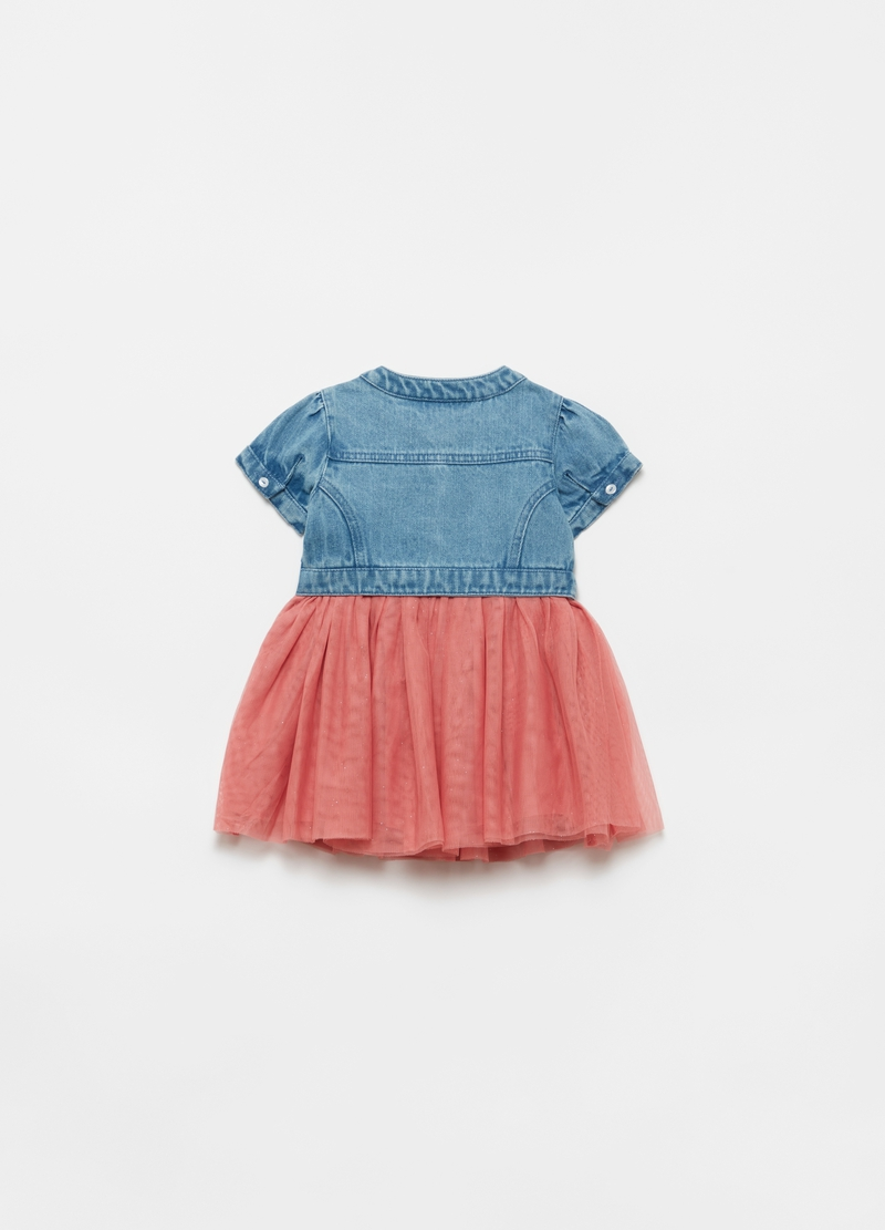 Denim dress with tulle insert image number null