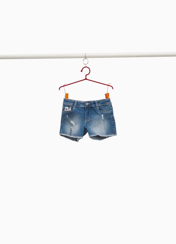 Shorts di jeans stretch used con pizzo