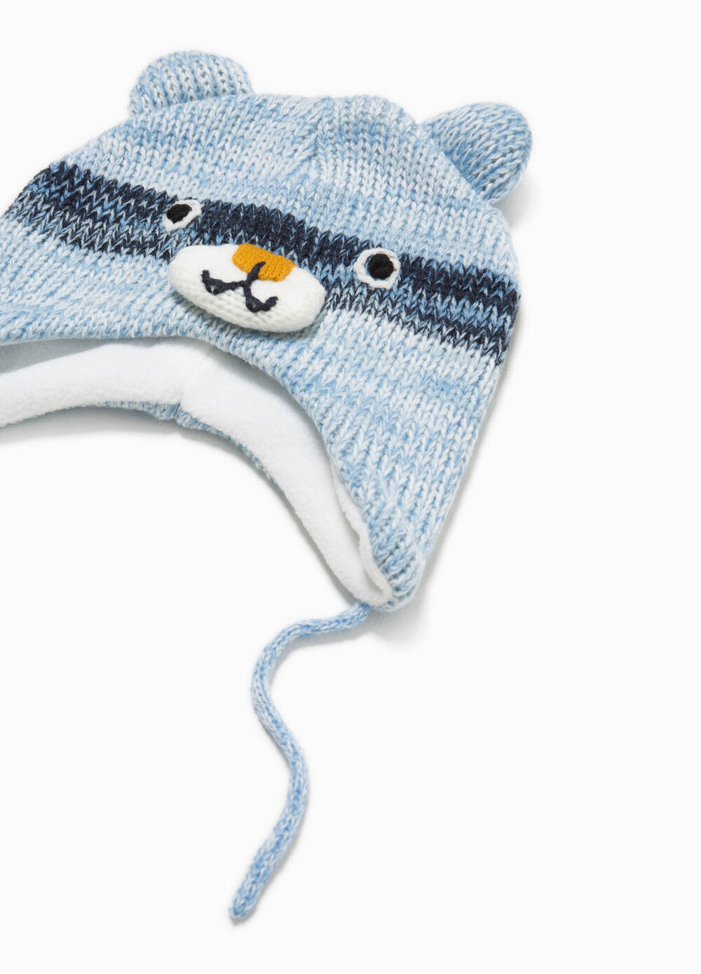 Knitted beanie cap with ear flaps