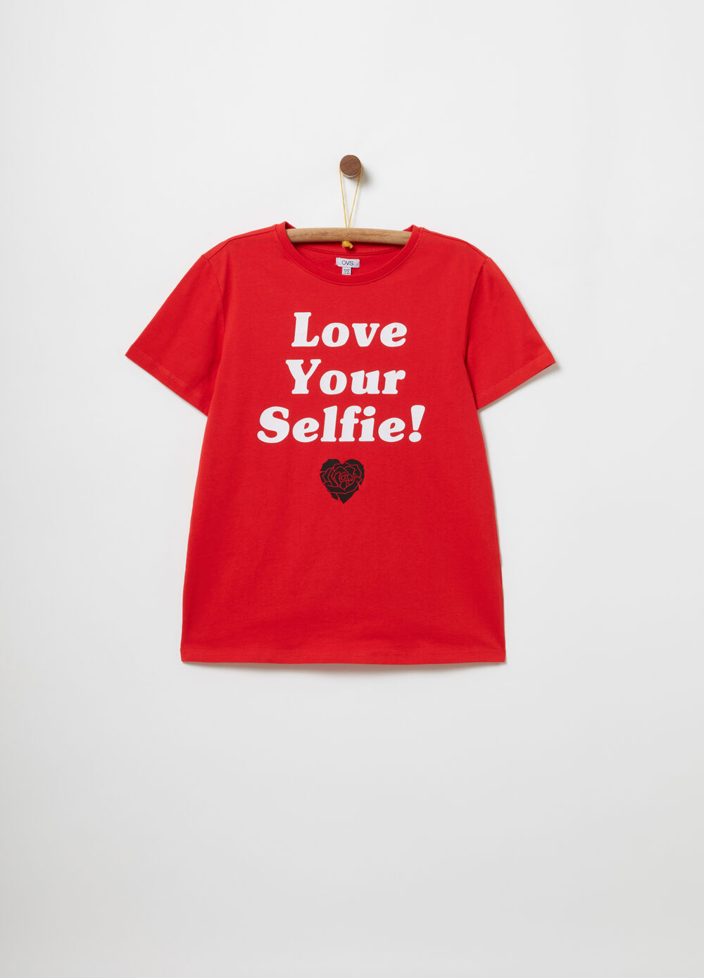 Solid colour 100% cotton T-shirt with print