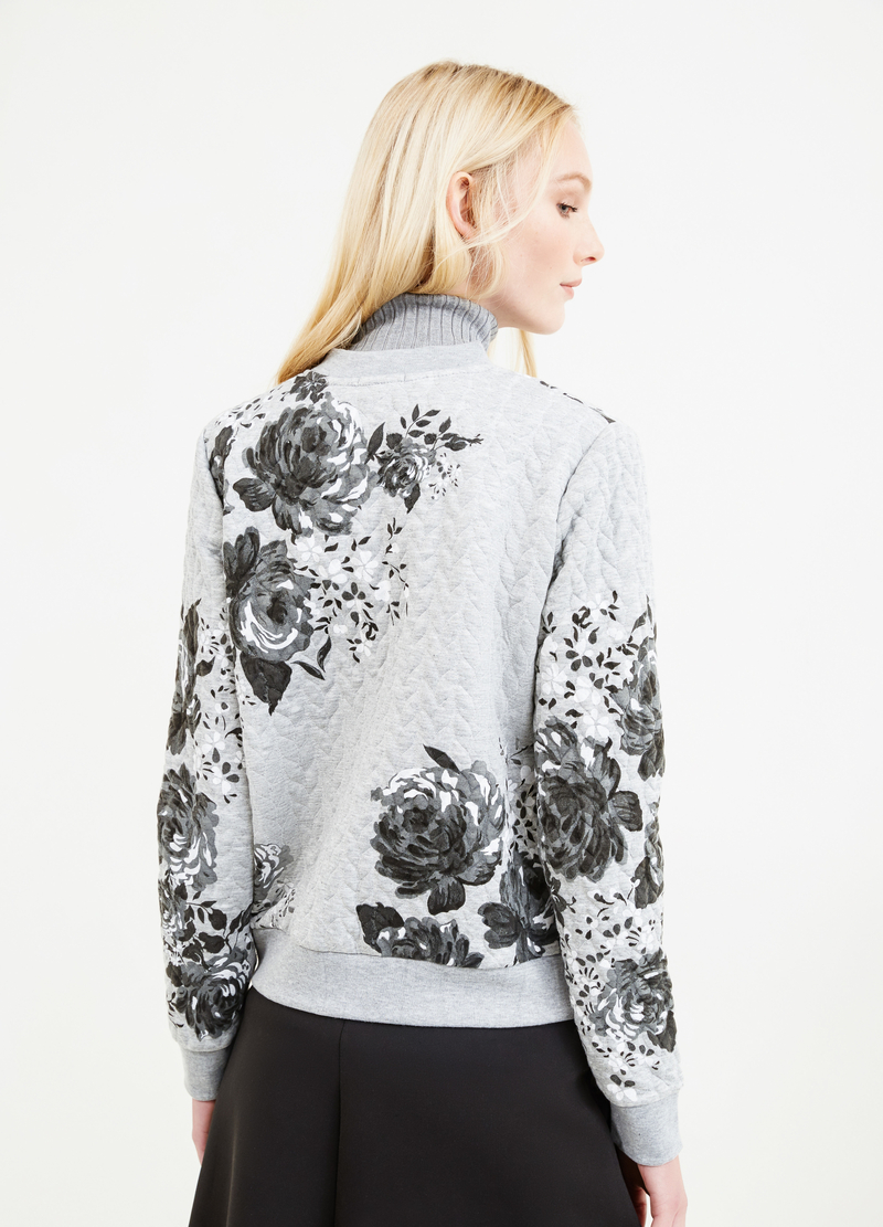 Cotton sweatshirt with floral pattern image number null