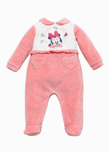 Two-tone Baby Minnie Mouse onesie with feet