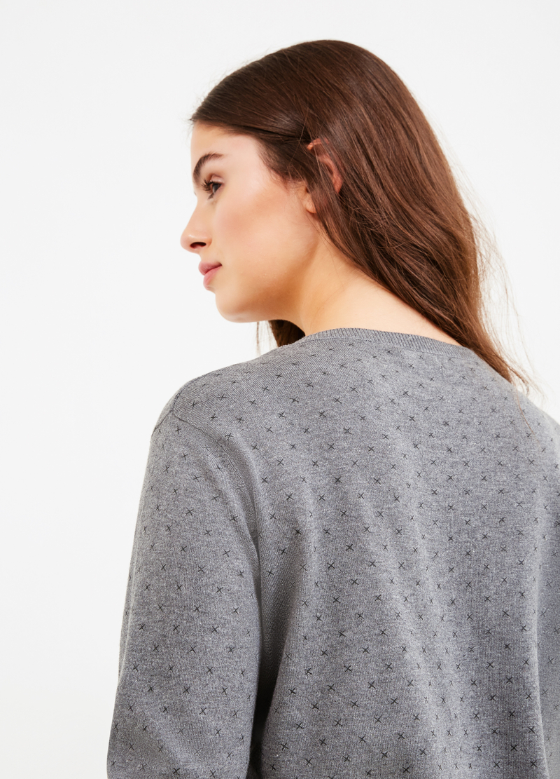 Curvy patterned cardigan in 100% cotton image number null