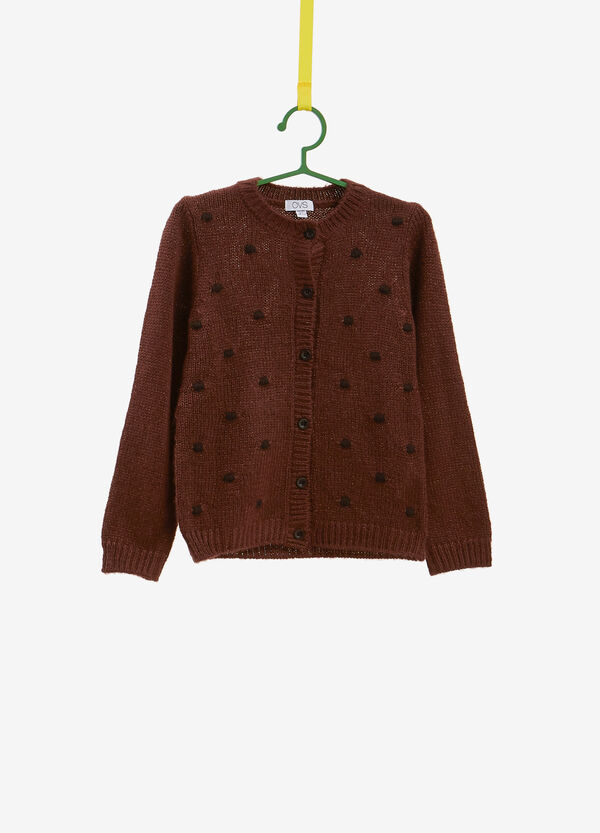 Glitter cardigan with polka dot embroidery
