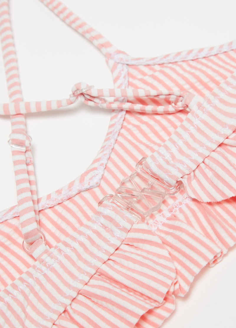 Bikini a righe con rouches image number null