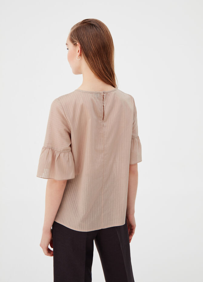 Textured cotton blouse with flounces on the sleeve