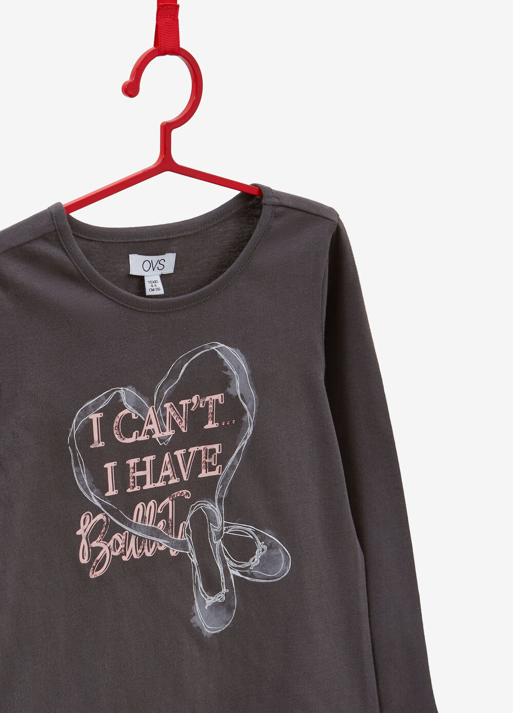 100% cotton T-shirt with glitter print and diamantés
