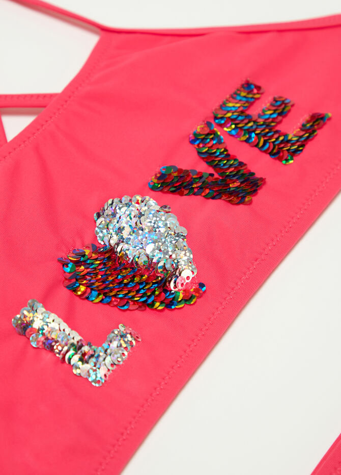 Stretch bikini top and briefs with sequins and lettering