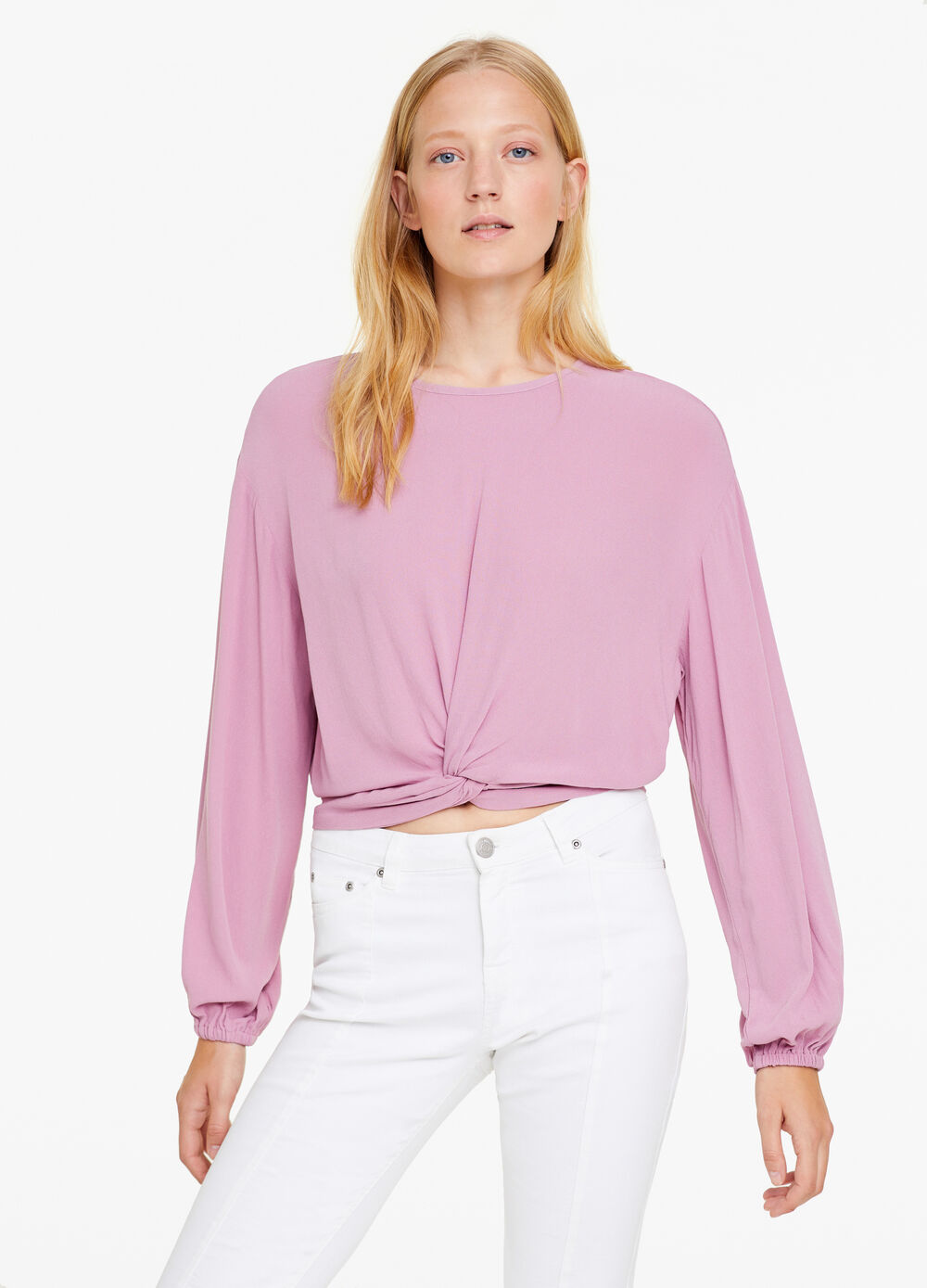 Blouse in 100% viscose with knot