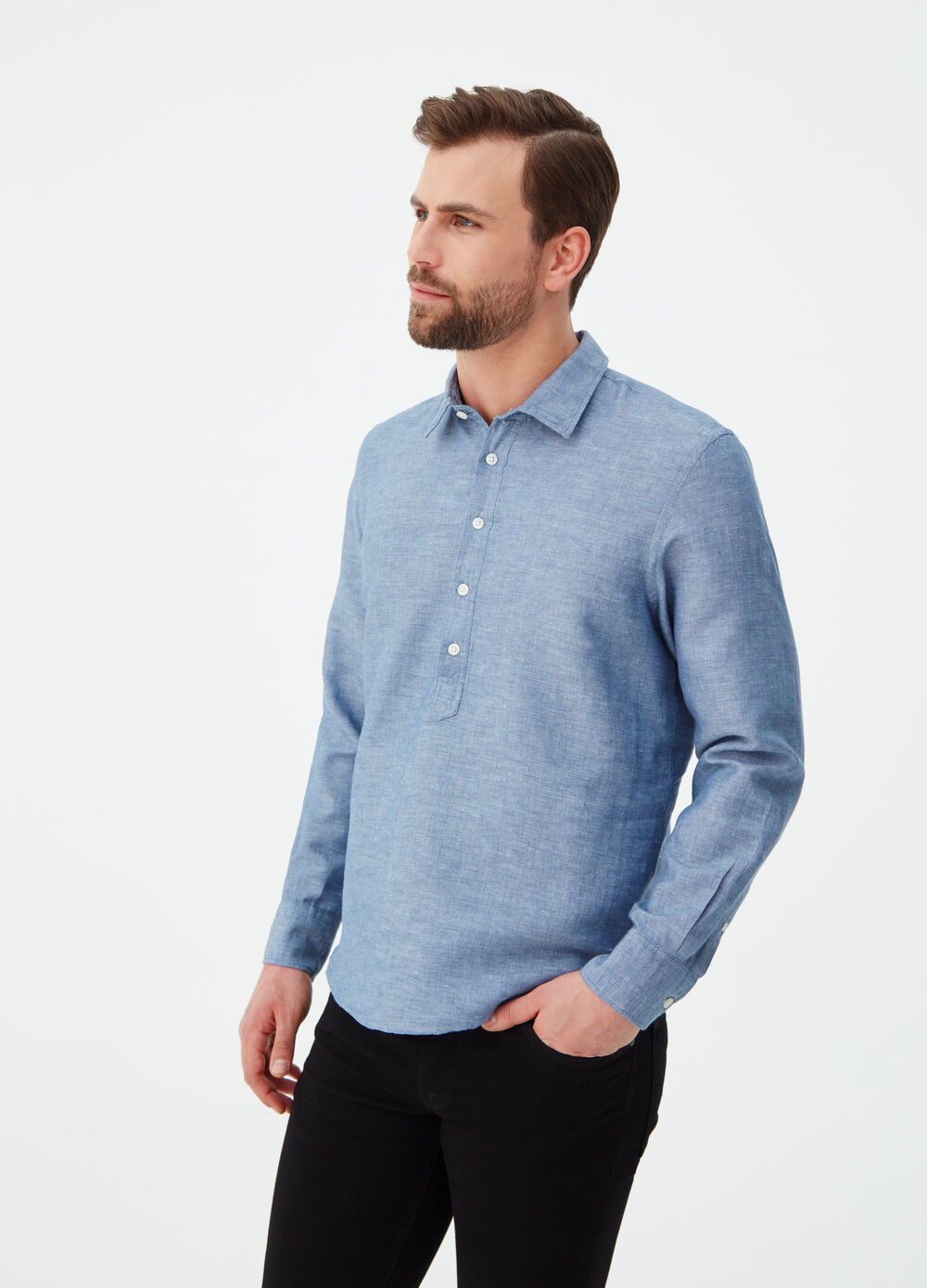 Regular-fit shirt with polo shirt opening