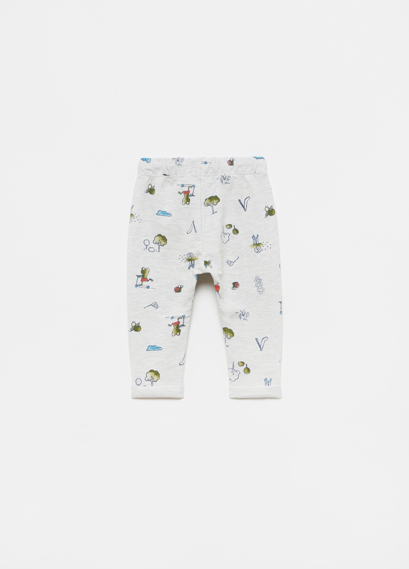 Cotton and viscose joggers with all-over print image number null