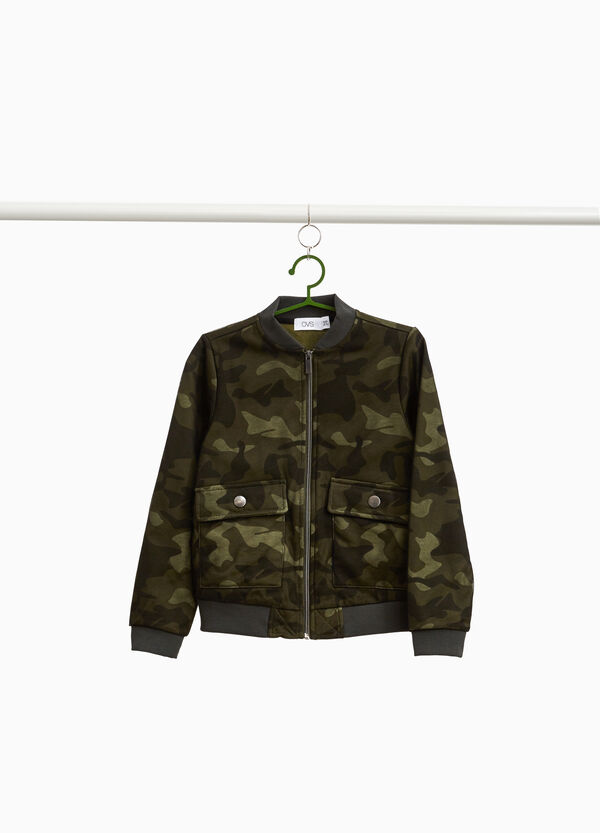 Camouflage cotton blend bomber jacket
