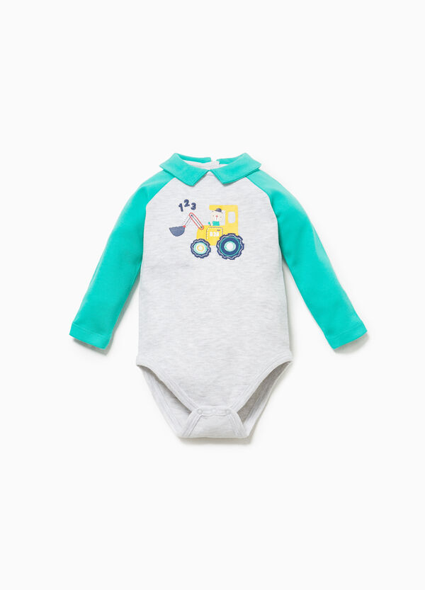 100% cotton bodysuit with print and patch