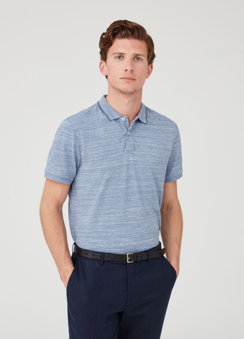 Iridescent-effect piquet polo shirt with ribbing