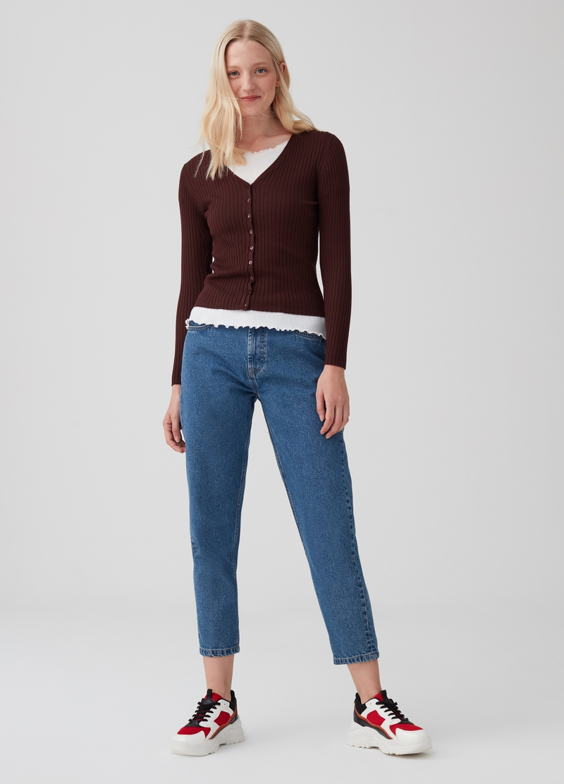 Knitted cardigan with V neck and buttons image number null