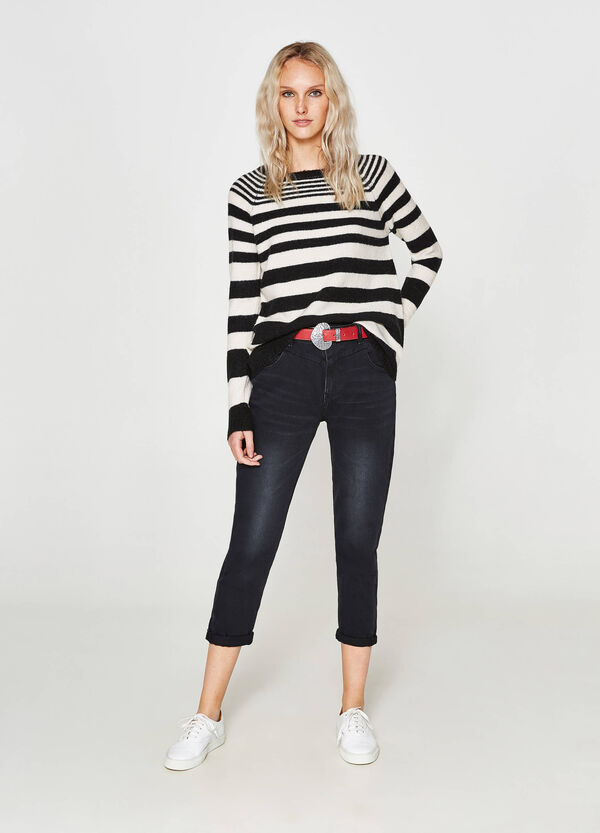 Pullover misto mohair stretch a righe