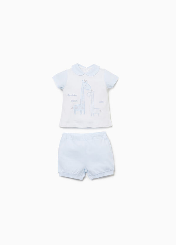 Cotton outfit with giraffe patches