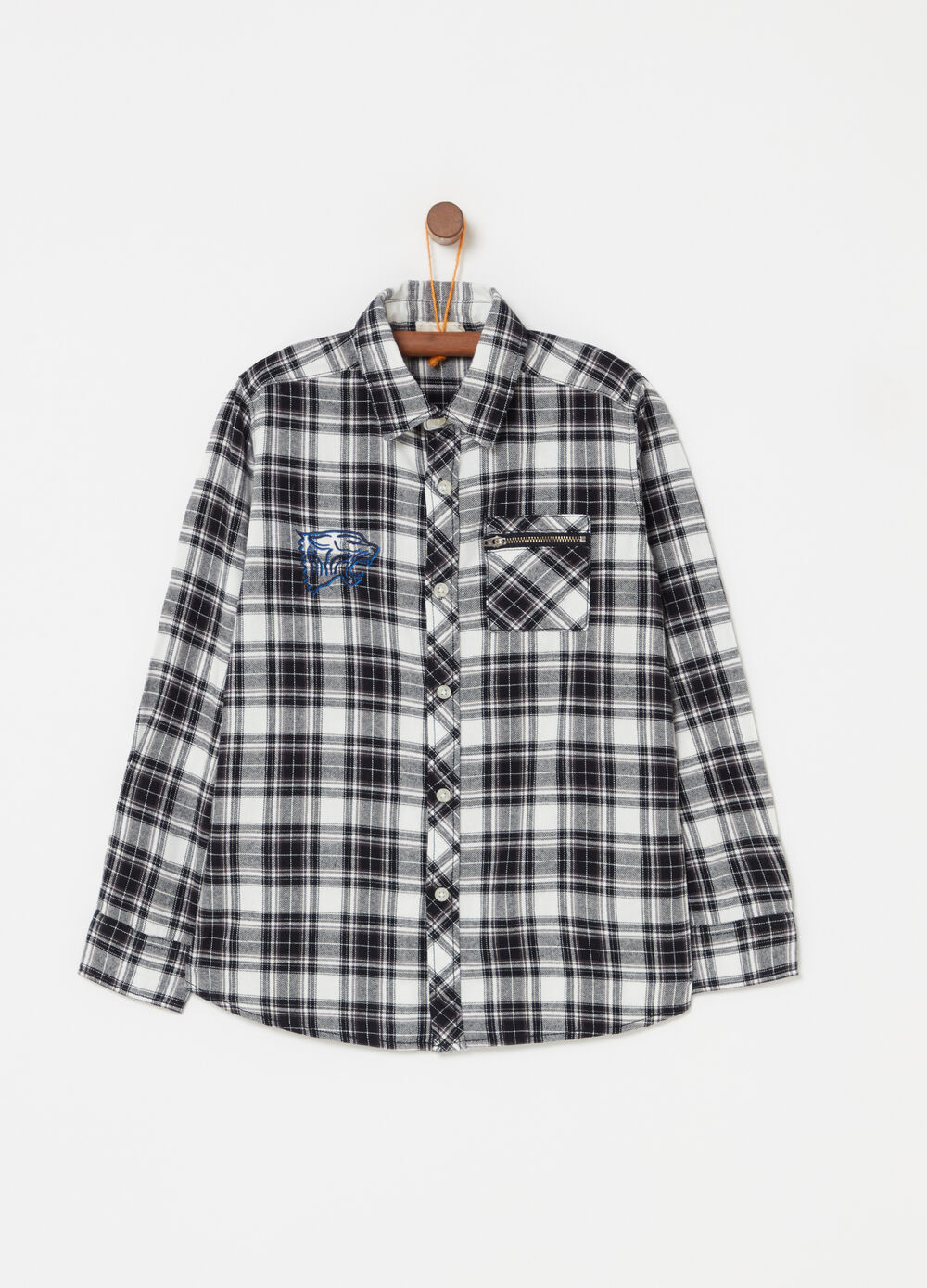 Check flannel shirt with flock print