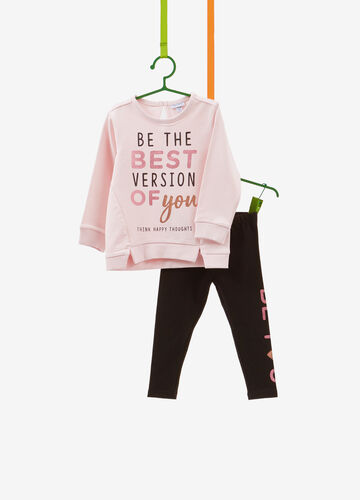 Tracksuit in stretch cotton with printed lettering