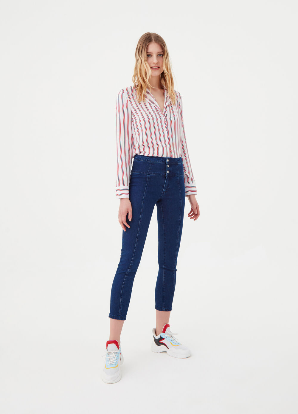 High-waist, skinny fit stretch jeans