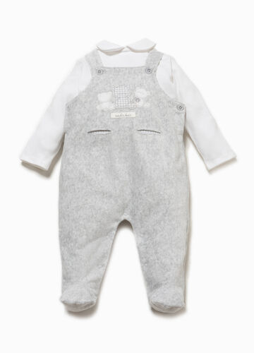 T-shirt and dungarees set with bears patch