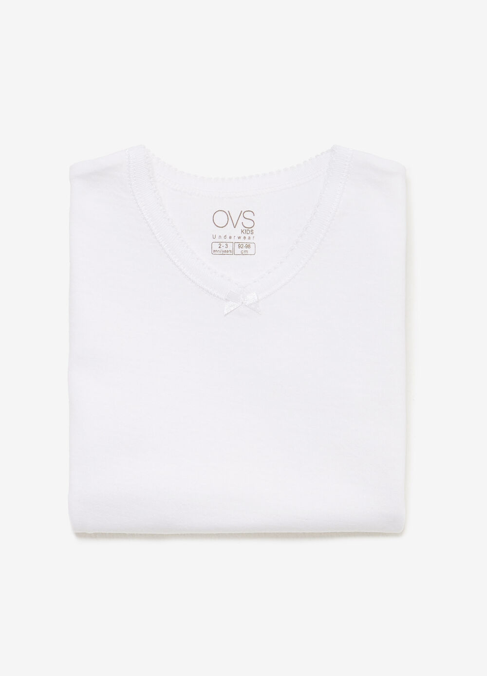 100% cotton undershirt with bow