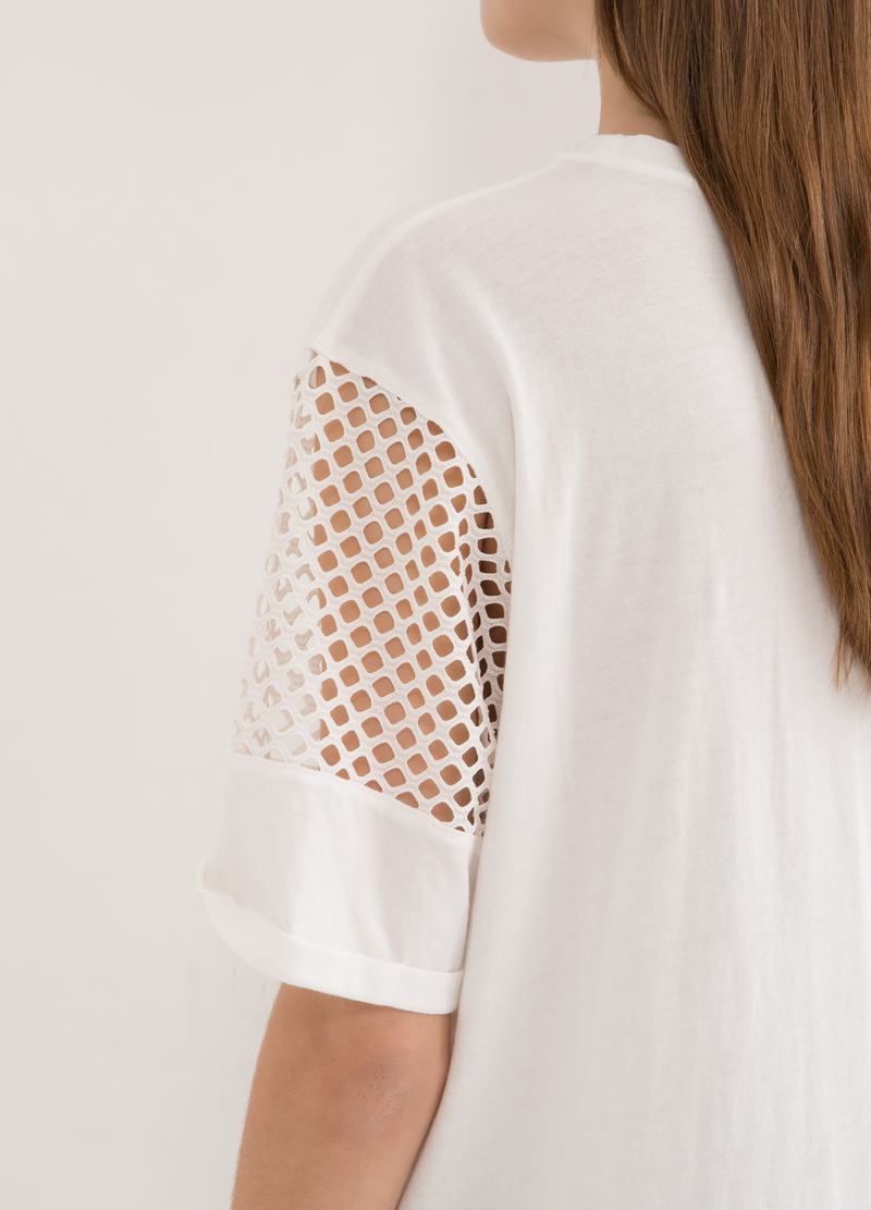 T-shirt with openwork sleeves image number null