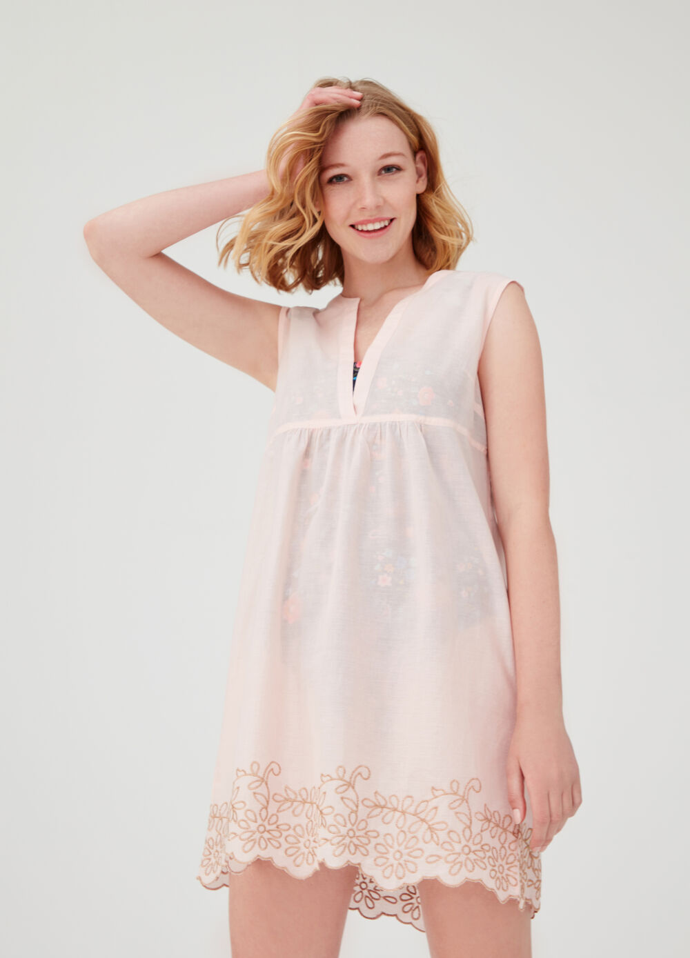 Cotton beach cover-up with embroidery