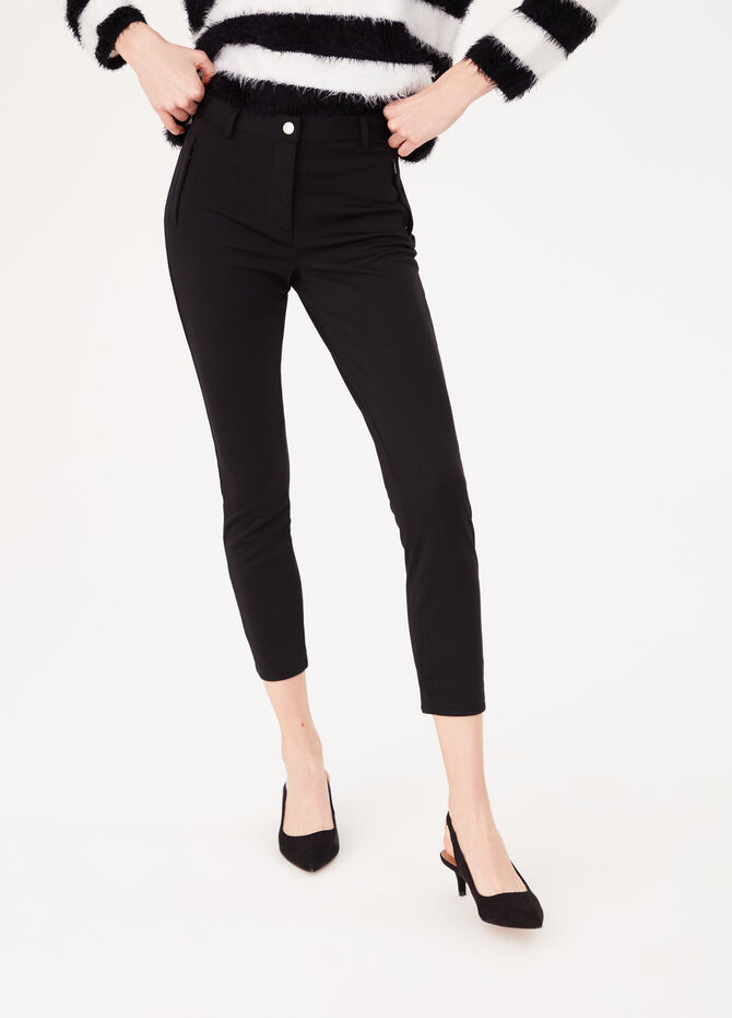 Stretch leggings with button and side zips