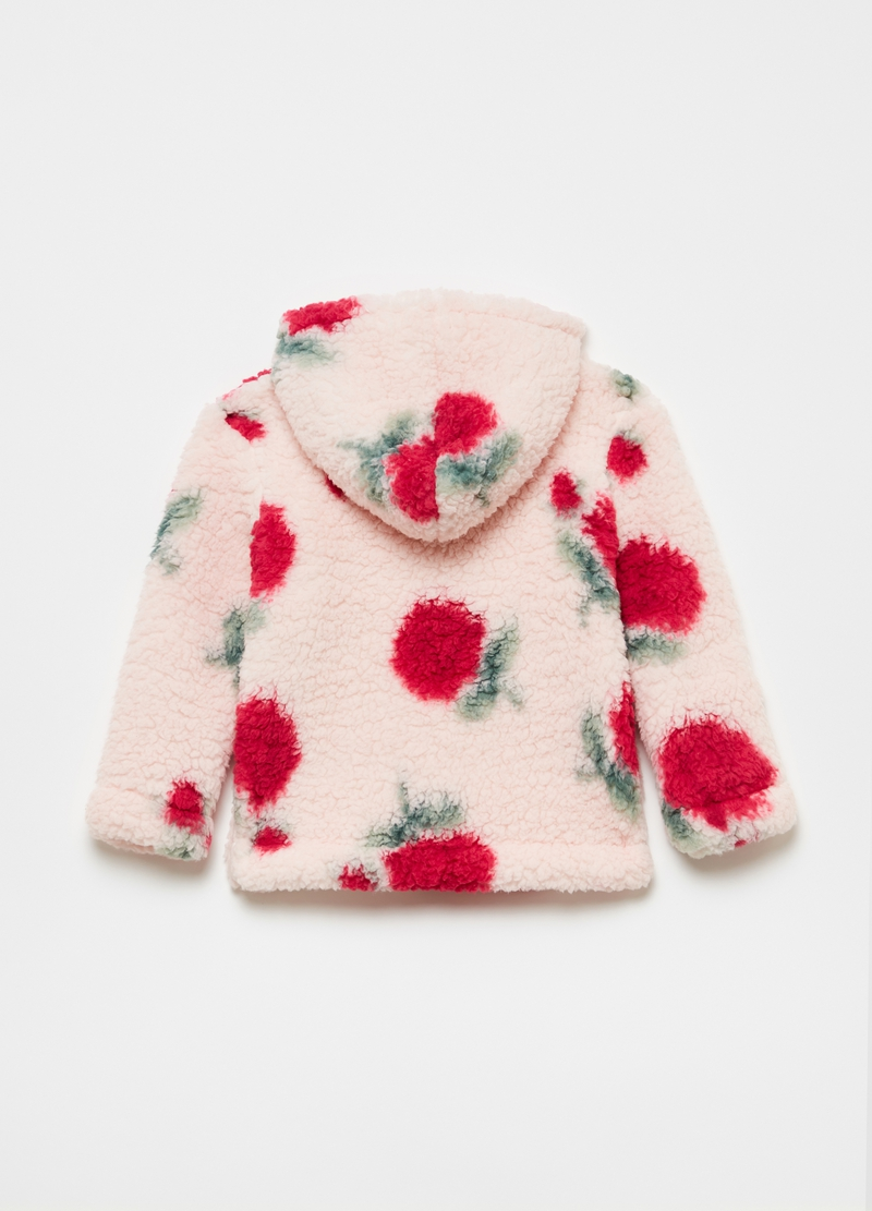 Full-zip con cappuccio stampa rose all-over image number null