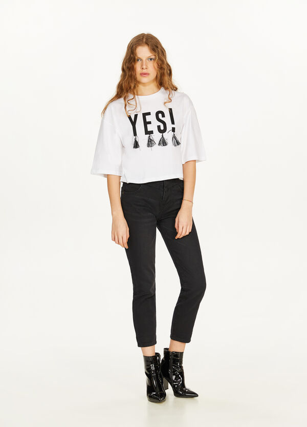 T-shirt crop con stampa lettering