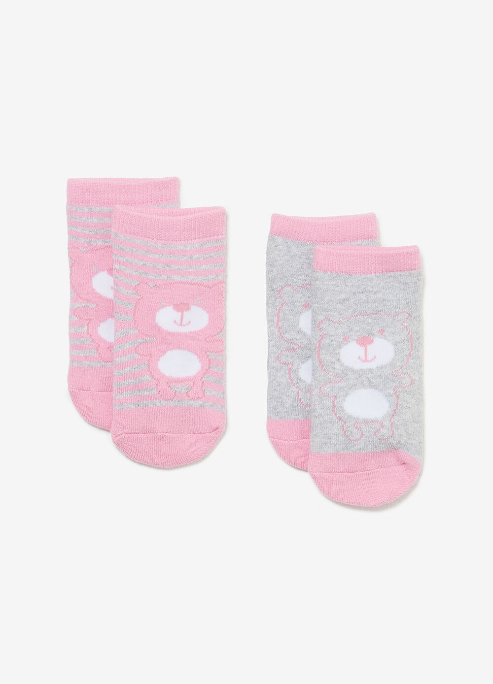 Two-pair pack solid colour and striped slipper socks
