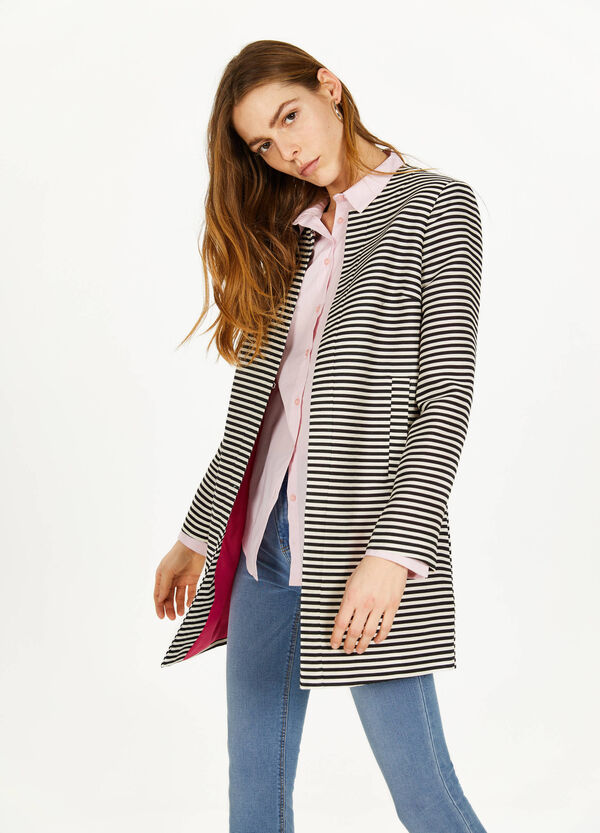 Striped coat in cotton and viscose