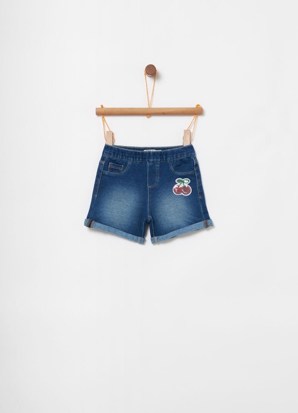 Shorts denim vita elasticata e paillettes