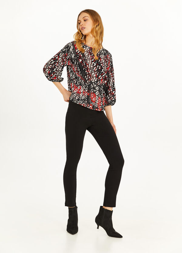 Patterned blouse with boat neck
