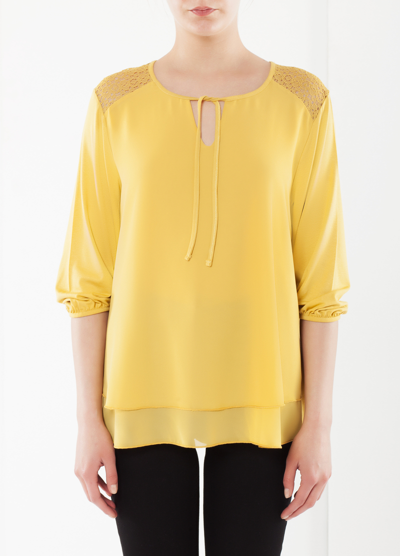 Stretch T-shirt with lace image number null