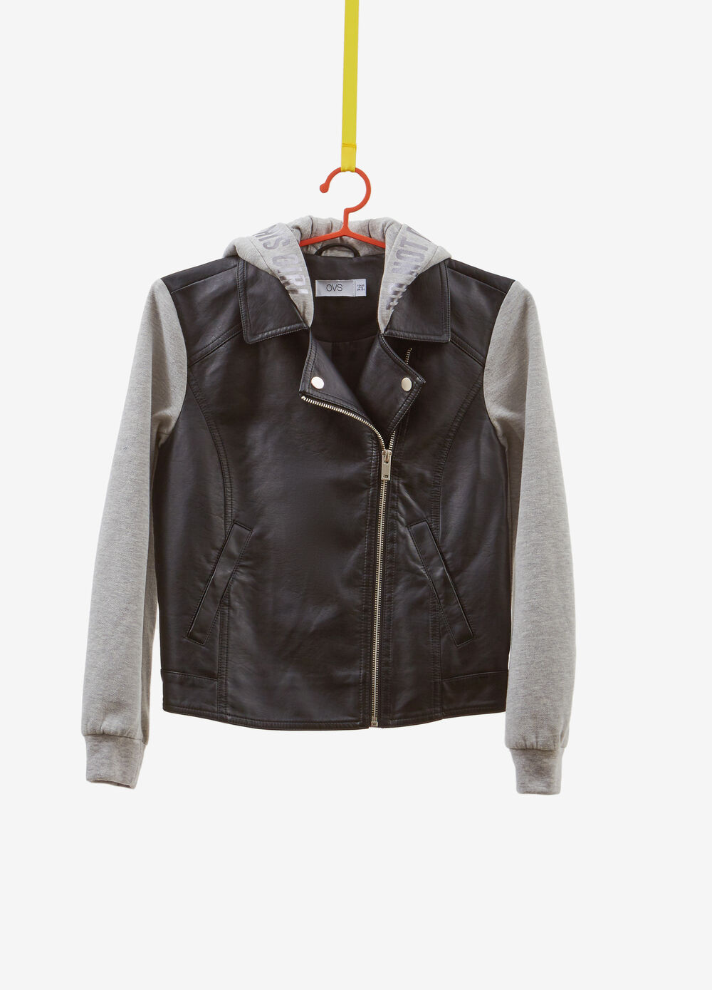 Leather look jacket with lettering